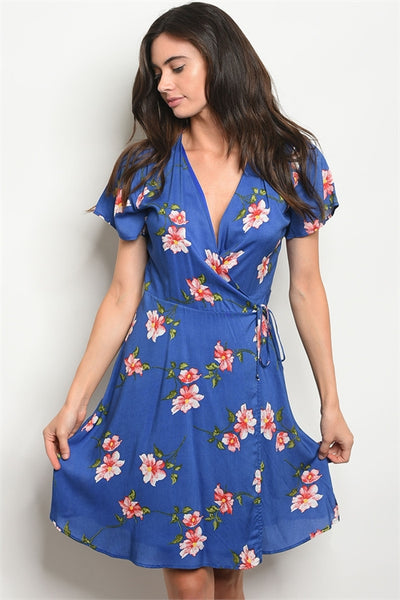Short Sleeved Bright Blue Floral Wrap Dress Keally Boutique