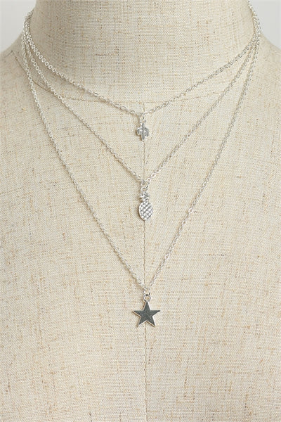 3 layered necklace with star pineapple and cactus
