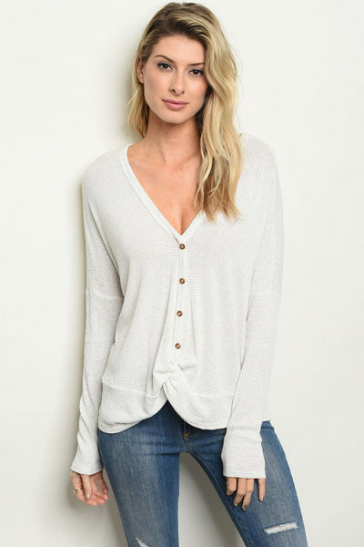Thermal Waffle Knit Button Down Top - Keally Boutique