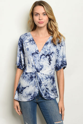 Blue Tie-Dye Twist Top