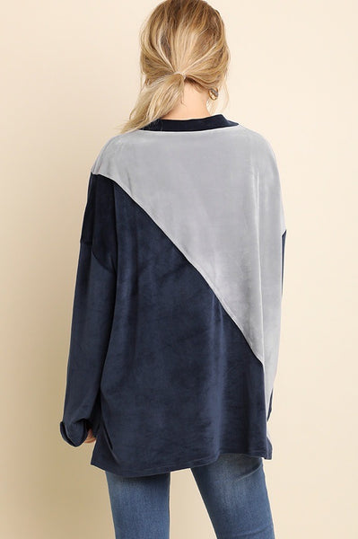 Velvet Colorblock Sweater Top