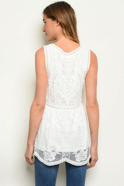 White Sleeveless Lace Embroidered Top - Keally Boutique