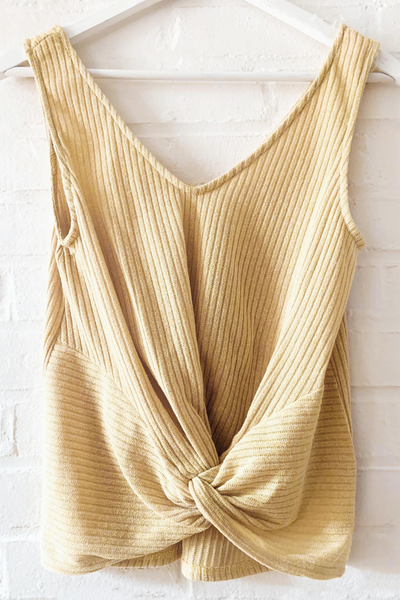 Yellow Twist Tie Ribbed Tank Top