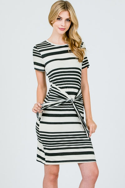black white striped tied dress
