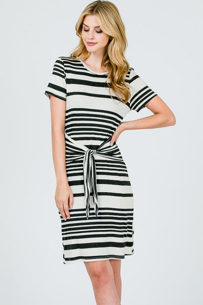 black and white striped tied bow dress with knot