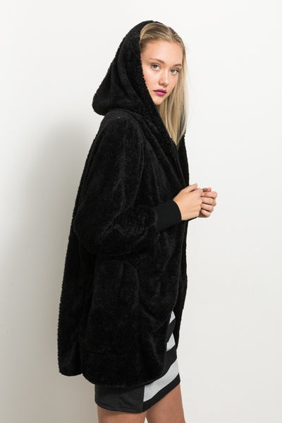 black Faux Fur Cardigan Hoodie Jacket