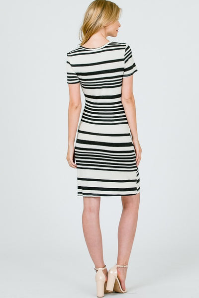 black and white striped tie dress