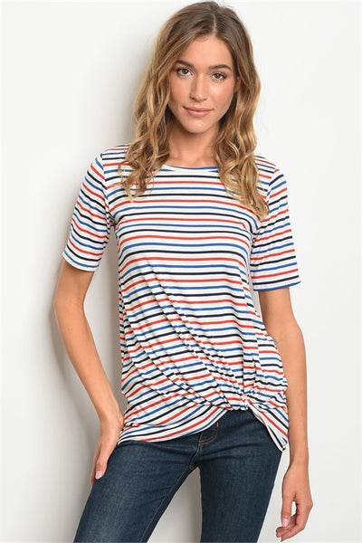 Blue and Red Basic Striped Tee  - Keally Boutique