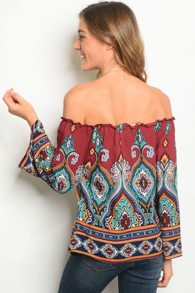 Red Printed Off The Shoulder Top