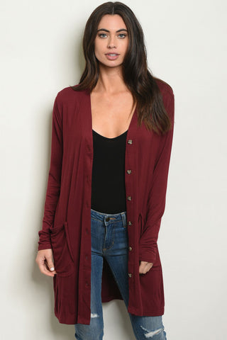 Burgundy Button Up Cardigan Sweater
