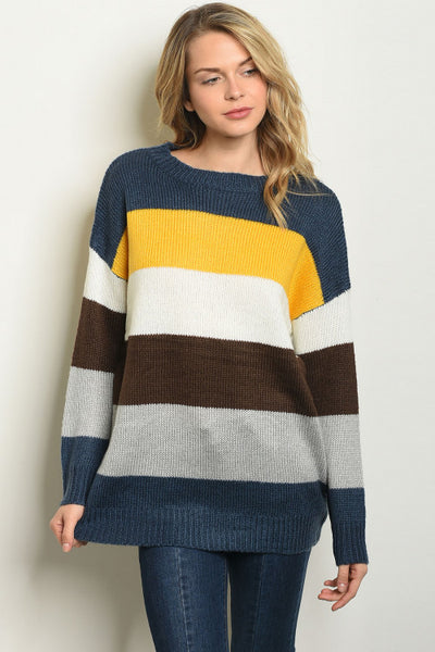 Color Blocked Scoopneck Sweater