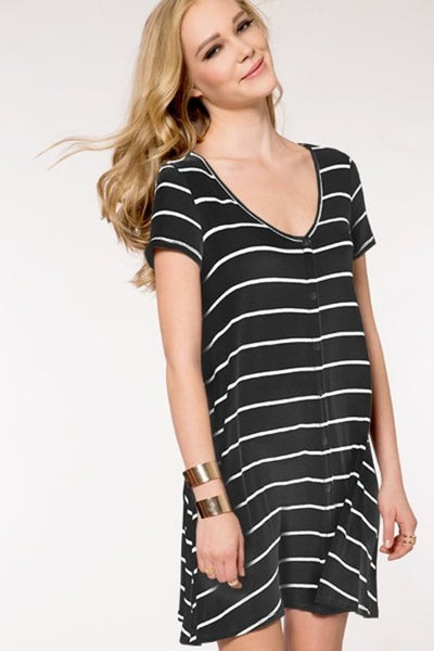 Jersey Button Dress - Keally Boutique