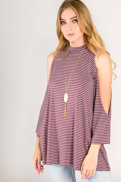 Cold shoulder striped pattern long sleeve shirt