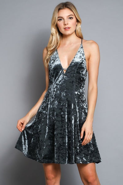 CRUSHED VELVET MINI DRESS - Keally Boutique