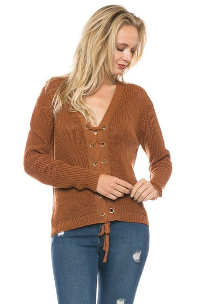 Full Lace up knit sweater - Keally Boutique
