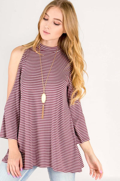 women's cold shoulder top with stripes