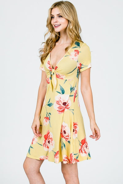 yellow floral women's dress MADE IN USA