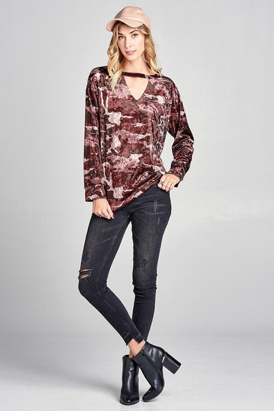 Velvet Camo Cutout Top - Keally Boutique