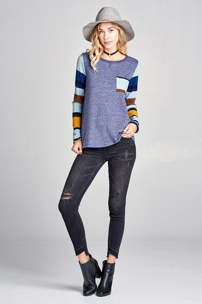 Two Tone Ribbed Knit Top - Keally Boutique