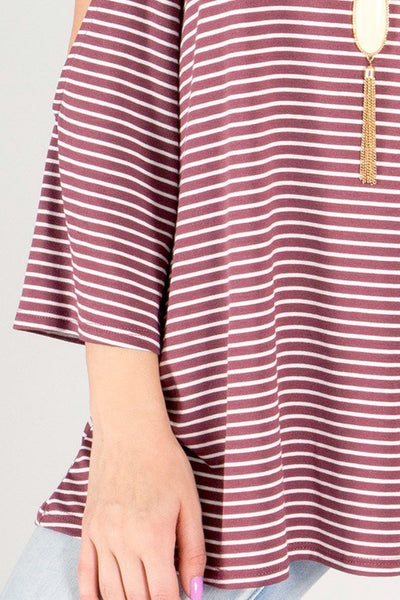 Red Striped Cold Shoulder Top - Keally Boutique