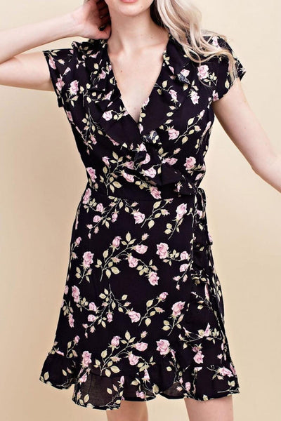 Mini Black Floral Wrap Dress