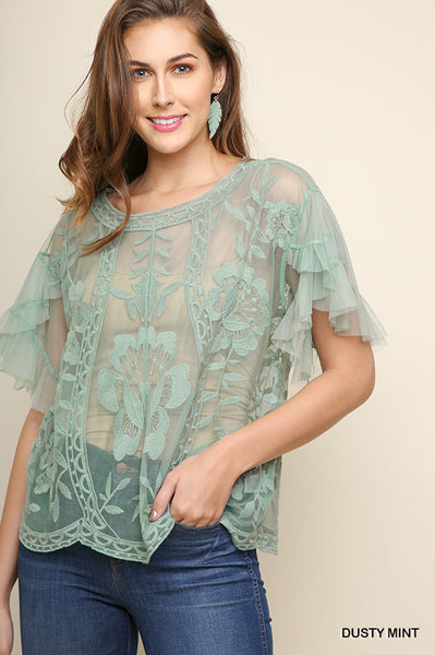 Floral Embroidered Sheer Ruffle Top