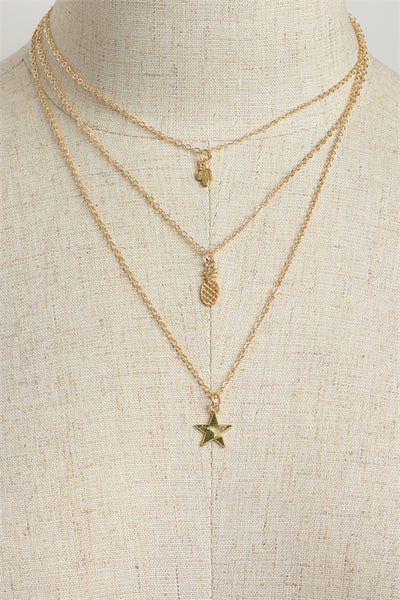 3 Layered Necklace with pineapple, star, and cactus