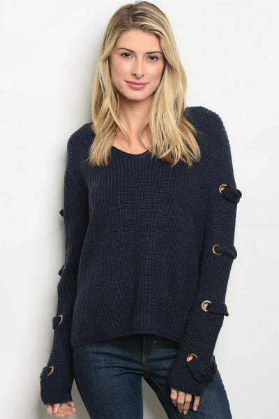 Navy Grommet Long Sleeved Sweater