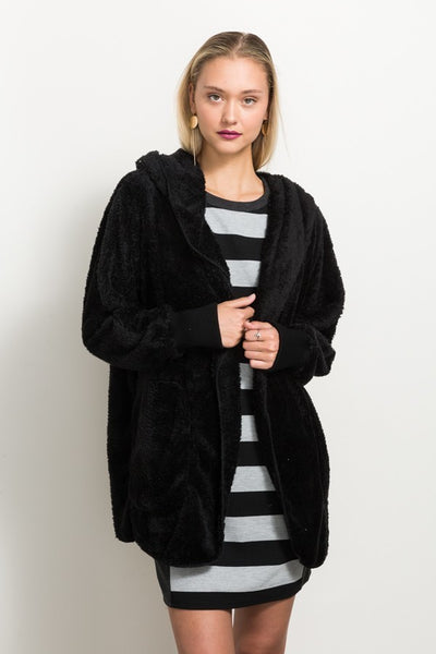 Faux Fur Cardigan Hoodie Jacket keally boutique
