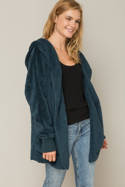 teal Faux Fur Cardigan Hoodie Jacket hem and thread