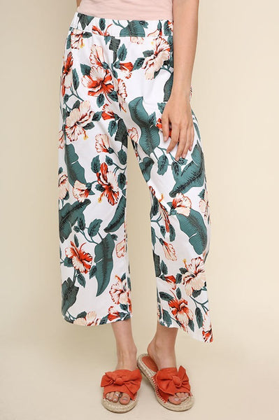 High Waist Tropical Crop Pants