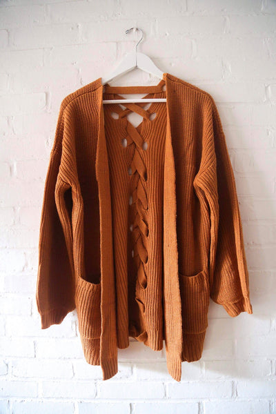 Lace Up Back Cardigan