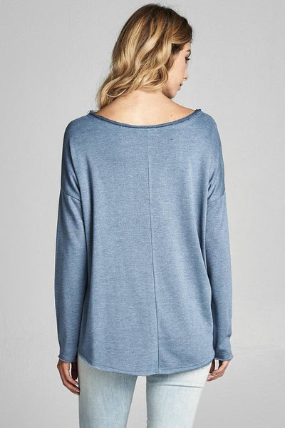 Blue Side Tie L/S Top