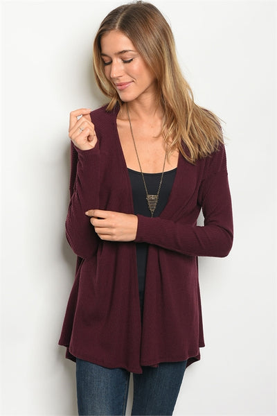 Long Sleeve Burgundy Cardigan
