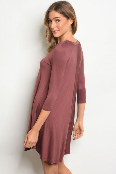 Quarter Sleeve - Solid Swing Dress