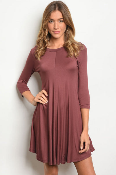 Quarter Sleeve - Solid Swing Dress - Jersey