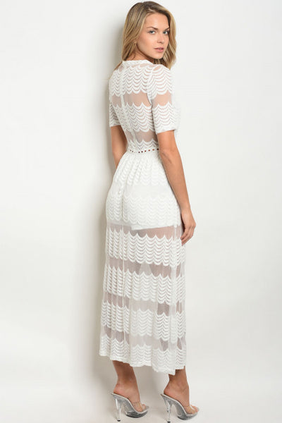 White Maxi Overlay Lace Dress