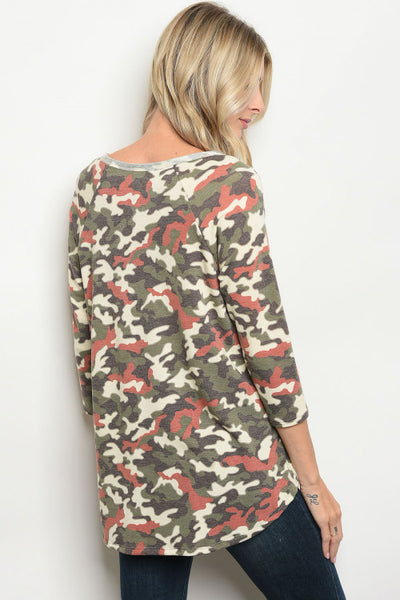Nautral Camo 3/4 Top