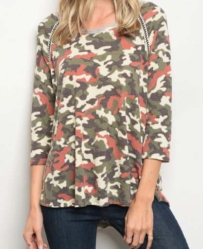 Neutral Camo 3/4 Sleeve Top