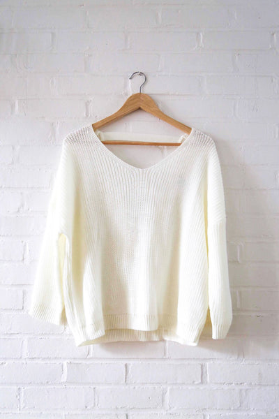 Open Back Ivory Sweater