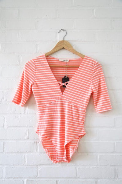 Peach Stripes Bodysui