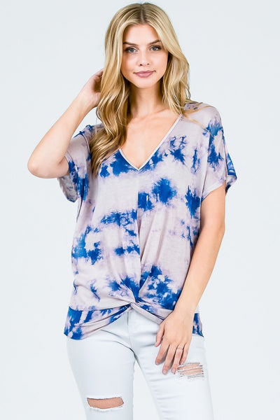 blue tie dye top with knot