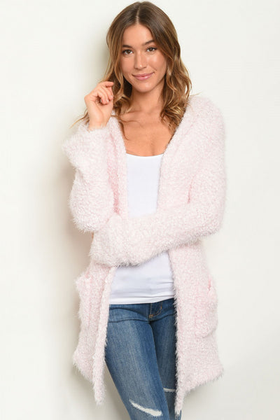 Popcorn Fuzzy Knit Hooded Cardigan - Keally Boutique