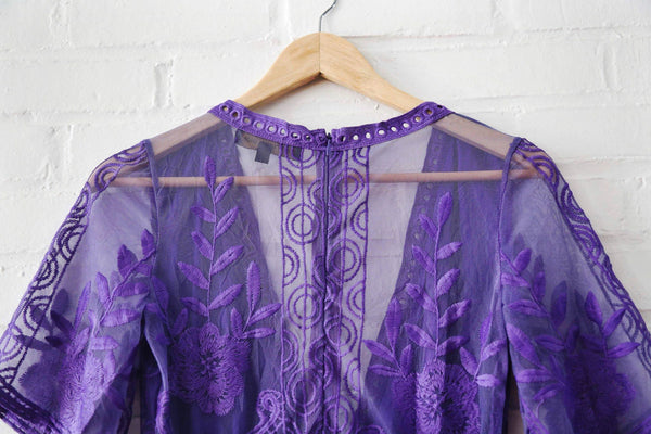 Purple Lace Embroidered Romper