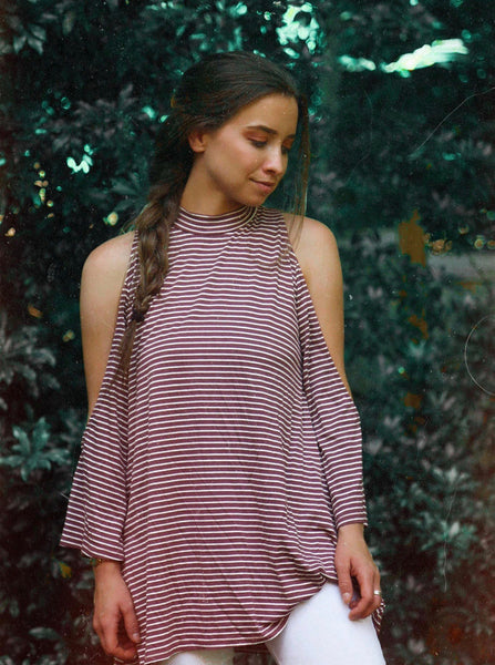 red striped cold shoulder top