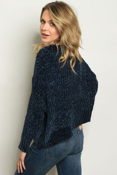 Shiny Plush Blue Chenille Sweater