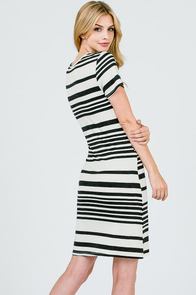 black and white striped tee shirt dress with bow