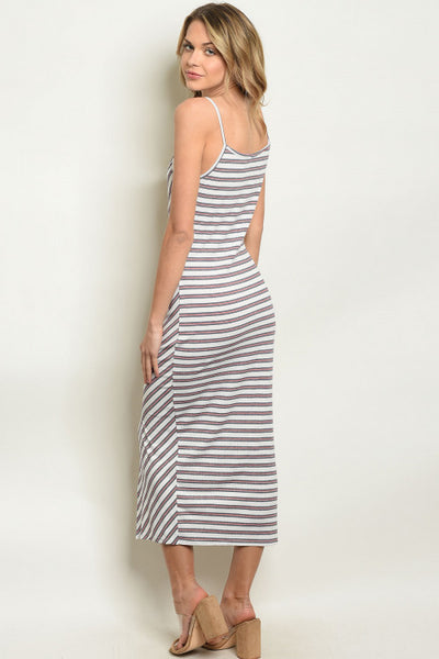 Casual Striped Midi Slit Dress