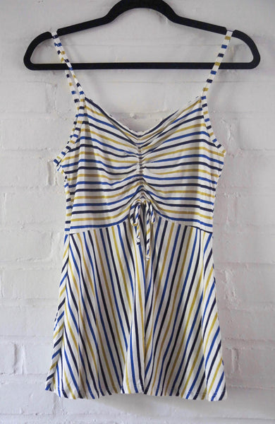 Blue & Yellow Striped Tank Top