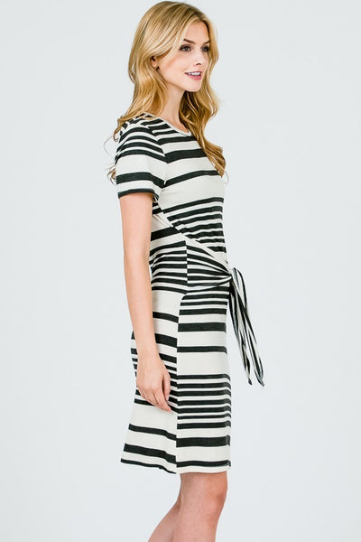 black and white striped knot dress bow